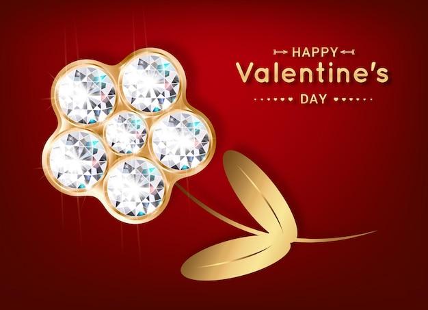 Saludo feliz día de san valentín. flor de diamantes y oro.