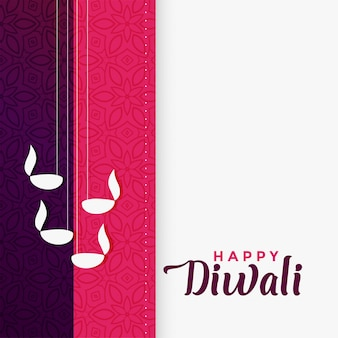 Saludo feliz diwali en diseño de color plano