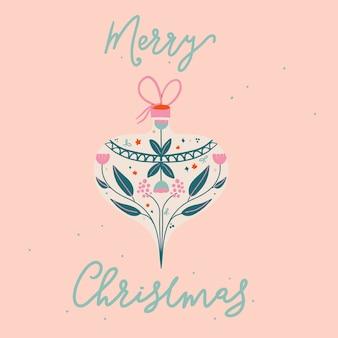 Saludo de feliz navidad con adorno vintage