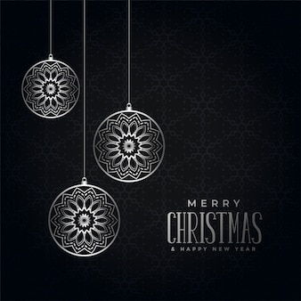 Saludo de feliz navidad festival negro y plata