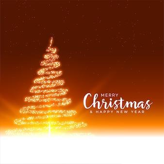 Saludo del festival de feliz navidad con árbol brillante de destellos