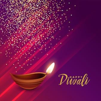 Saludo festival hindú diwali con destellos