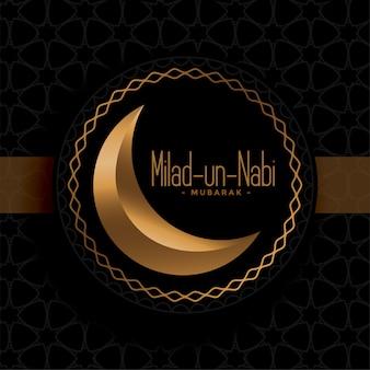 Saludo del festival milad un nabi negro y dorado