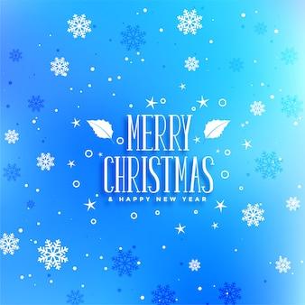 Saludo del festival de navidad de copos de nieve azul
