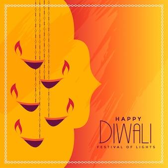 Saludo festivo de diwali con diya colgante.