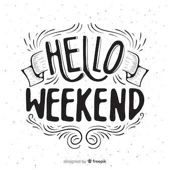 Saludo fin de semana adornos dibujados a mano