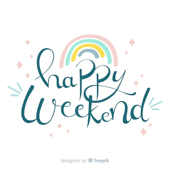 Saludo fin de semana arco iris colores pastel