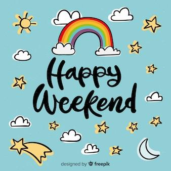 Saludo fin de semana elementos cielo dibujados a mano