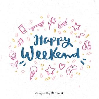 Saludo fin de semana elementos dibujados a mano