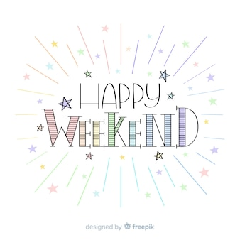 Saludo fin de semana estrellas colores pastel