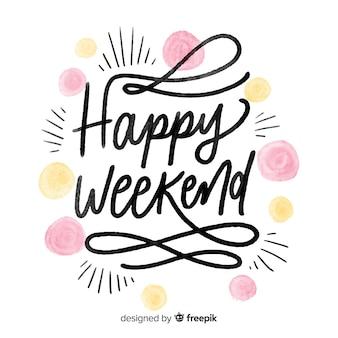 Saludo fin de semana puntos acuarela