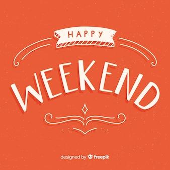 Saludo fin de semana tipografía dibujada a mano