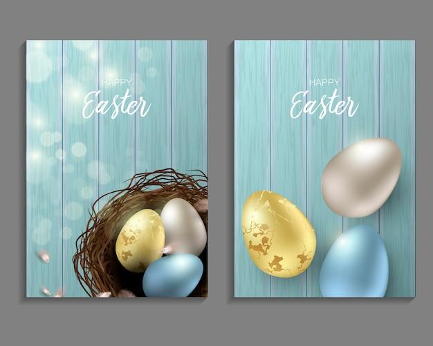 Saludo de fondo de pascua con huevos de pascua realistas y plumas de pollo. vista superior con espacio de copia.