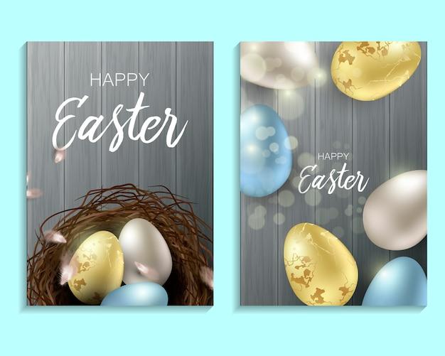 Saludo de fondo de pascua con huevos de pascua realistas y plumas de pollo. vista superior con espacio de copia