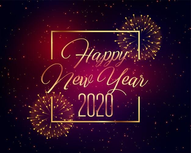 Saludo de fuegos artificiales de celebración de feliz año nuevo 2020