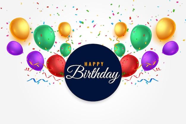 Saludo de globos coloridos feliz cumpleaños realista