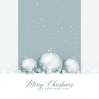 Saludo hermosa feliz navidad con bolas y copos de nieve