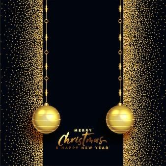 Saludo hermoso feliz navidad negro y oro
