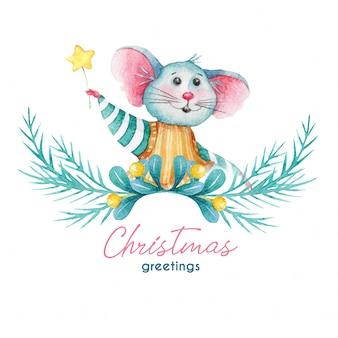 Saludo ilustración de navidad de ratón y decoraciones
