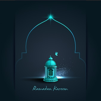 Saludo islámico diseño de tarjeta de ramadan kareem con hermosa linterna azul