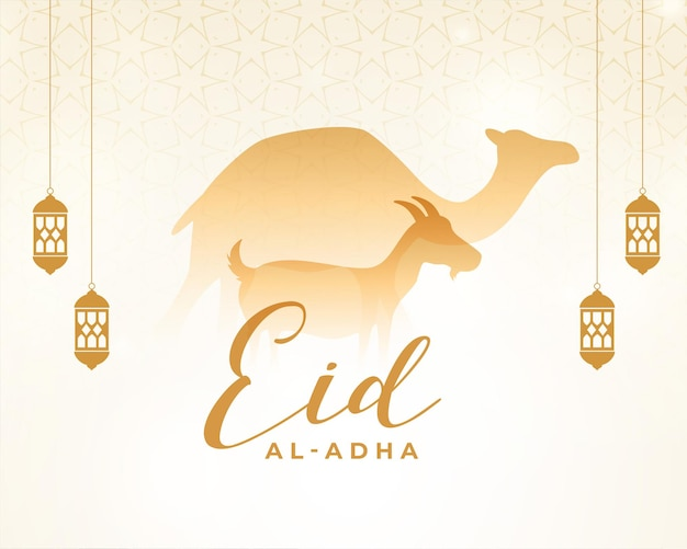 Saludo islámico eid al adha con diseño de camello y cabra.