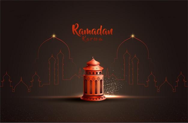 Saludo islámico plantilla de diseño de tarjeta de ramadan kareem con hermosa linterna roja