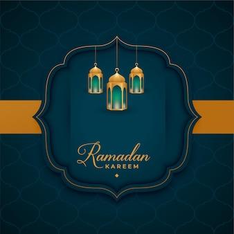 Saludo islámico de ramadan kareem con decoración de linterna