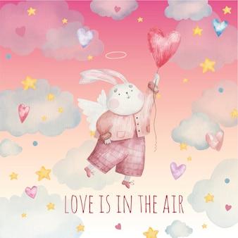 Saludo lindo conejo ángel vuela en el cielo, ilustración para el día de san valentín