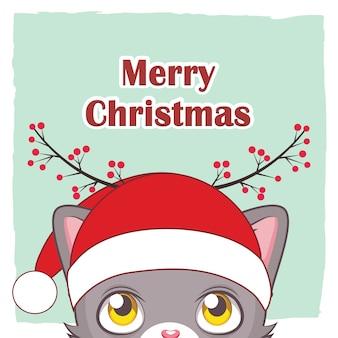 Saludo de un lindo gato mirando el texto festivo