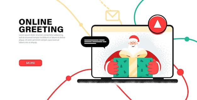 Saludo en línea feliz navidad de santa. saludo al niño con año nuevo por webcam.