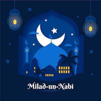 Saludo de la luna de mawlid milad-un-nabi