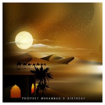 Saludo de mawlid al nabi islámico con viajero árabe en camello en la noche