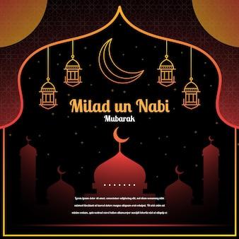 Saludo de mawlid milad-un-nabi con mezquita y linternas