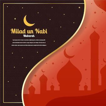 Saludo de mawlid milad-un-nabi con mezquita y luna