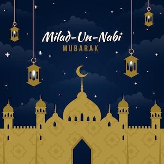 Saludo de mawlid milad-un-nabi con mezquita