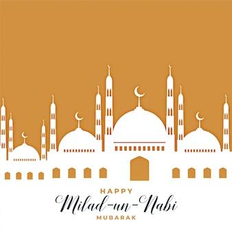Saludo de la mezquita para el festival milad un nabi