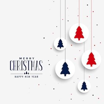 Saludo de navidad blanca con árbol