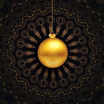 Saludo de navidad de lujo con diseño de mandala