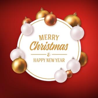 Saludo navideño con bolas decorativas