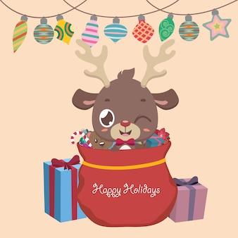 Saludo navideño con un reno, regalos y adornos.