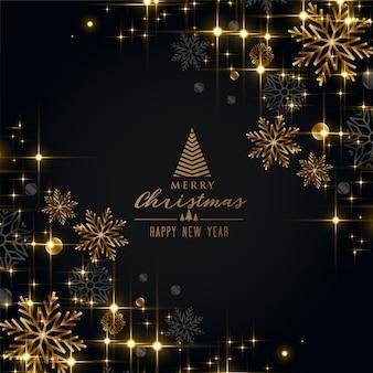 Saludo negro del festival de navidad con copos de nieve dorados