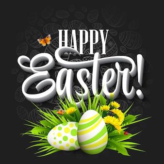 Saludo de pascua con huevos y flores.