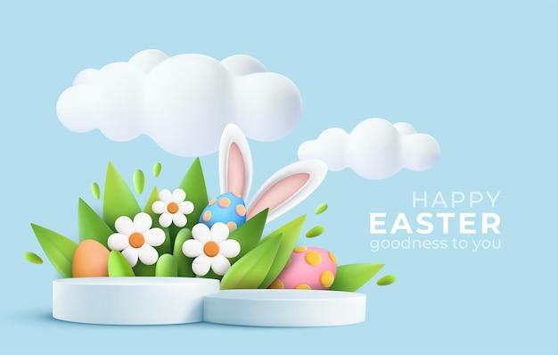 Saludo de pascua de moda 3d con podio de producto 3d, flor de primavera, nube, huevo de pascua y conejito