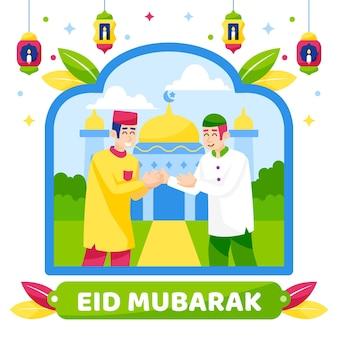 Saludo de personajes musulmanes de eid mubarak
