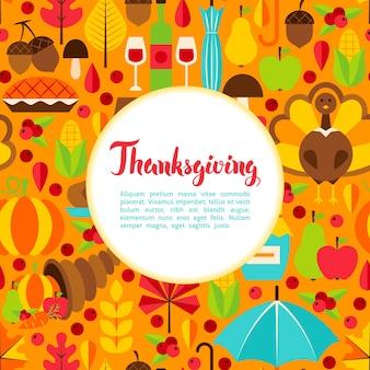 Saludo plano del día de acción de gracias. ilustración de vector de plantilla de vacaciones de otoño.