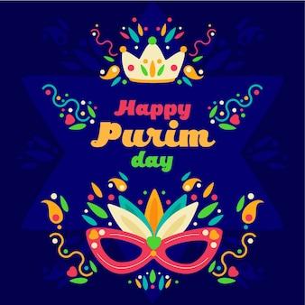 Saludo plano feliz día de purim