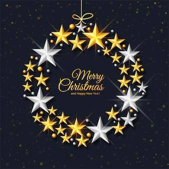 Saludo premium del festival de navidad en fondo decorativo de estrellas