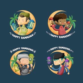 Saludo de ramadán kareem con colecciones de ilustraciones de dibujos animados para niños