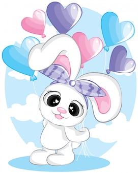 Saludo tarjeta de cumpleaños linda chica de conejito de dibujos animados con globo