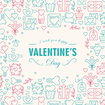 Saludo tarjeta decorativa del día de san valentín con deseos de ser feliz y muchos iconos como corazón, ramita, ilustración de vector de sobre